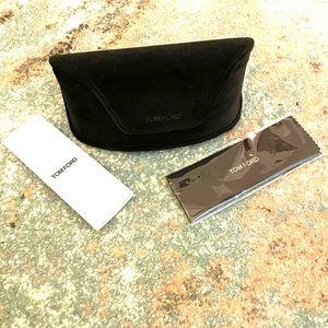Tom Ford Brown Soft Velvet Sunglasses Case + Cloth
